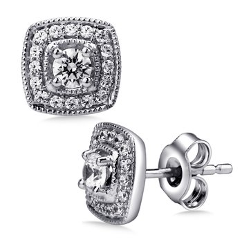Pave set Diamond Cushion Shaped Halo Earrings, 14k White Gold  (3/5 ct. tw.) HI/I1