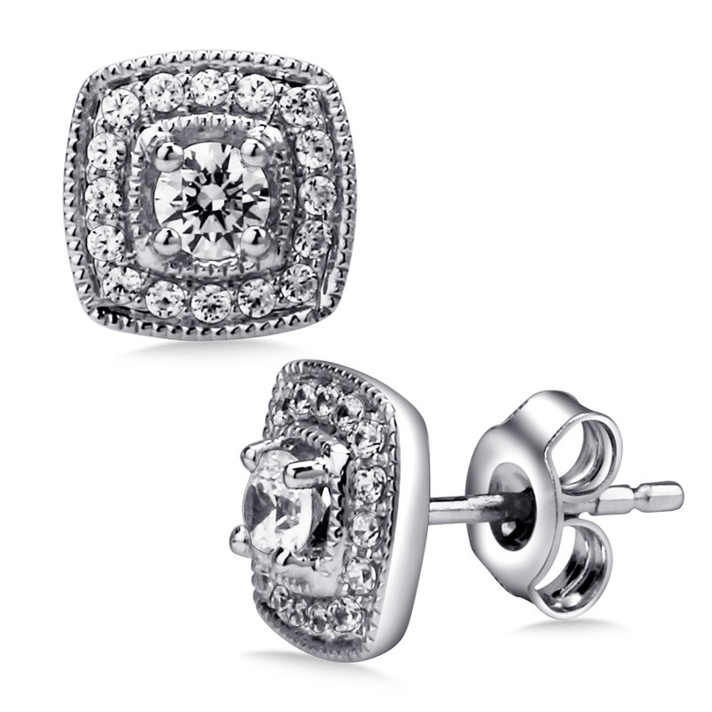 SDC Creations Pave set Diamond Cushion Shaped Halo Earrings, 14k White Gold  (3/5 ct. tw.) HI/I1
