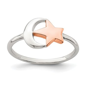 Sterling Silver Rose Tone Moon & Star Ring