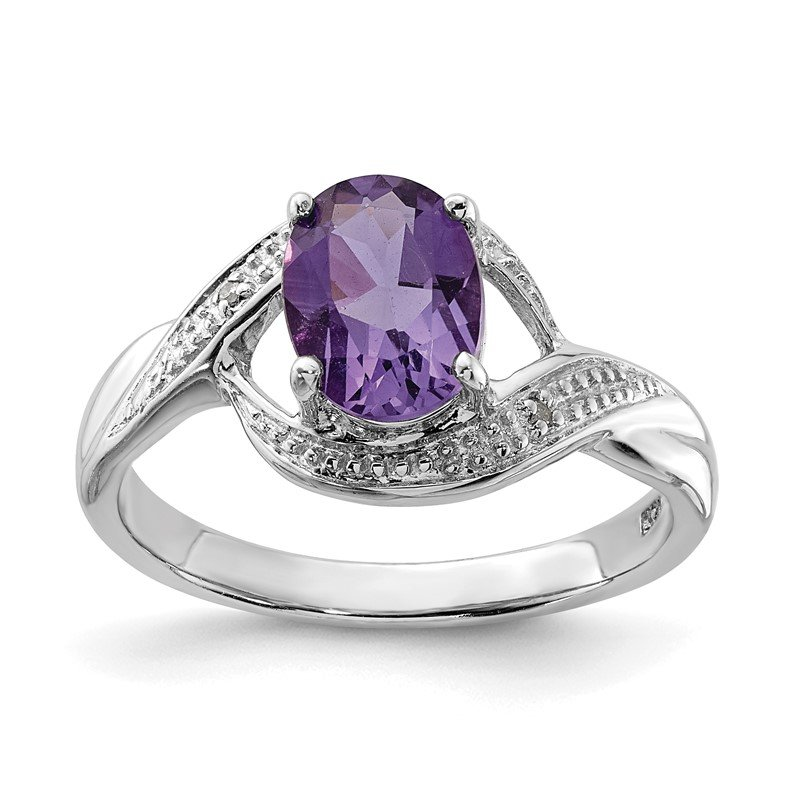 Quality Gold Sterling Silver Rhodium Amethyst Diamond Ring