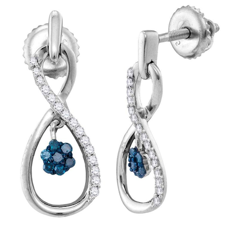 Gold-N-Diamonds, Inc. (Atlanta) Sterling Silver Womens Round Blue Color Enhanced Diamond Infinity Dangle Earrings 1/4 Cttw