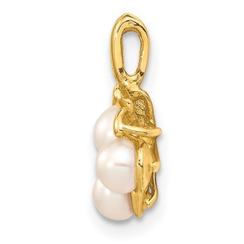 14K 3-4mm White Button Freshwater Cultured Pearl Cluster Pendant