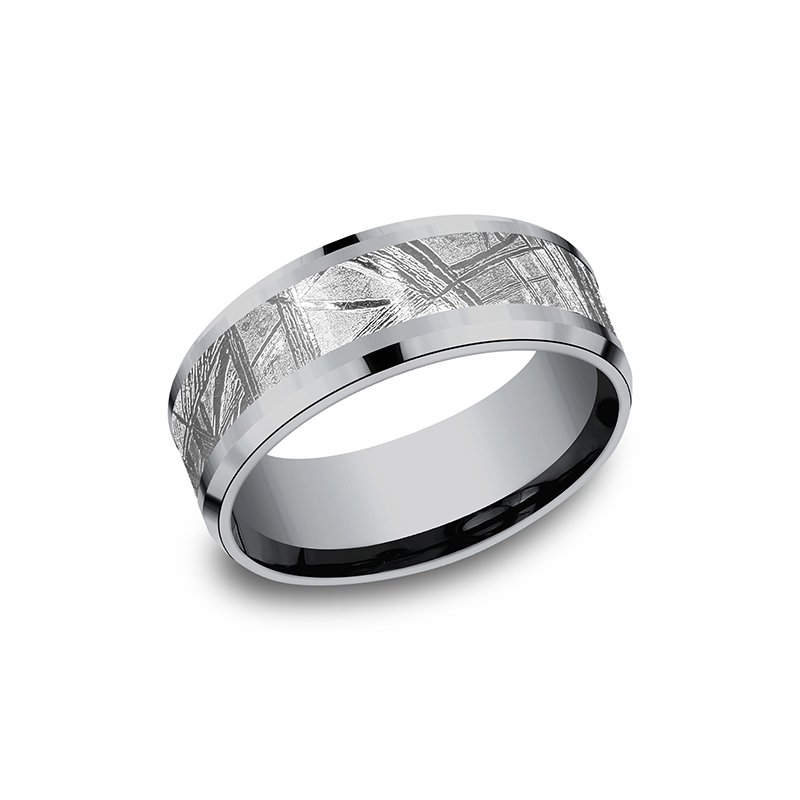 Tantalum Tantalum and Meteorite Comfort-fit Design Wedding Band