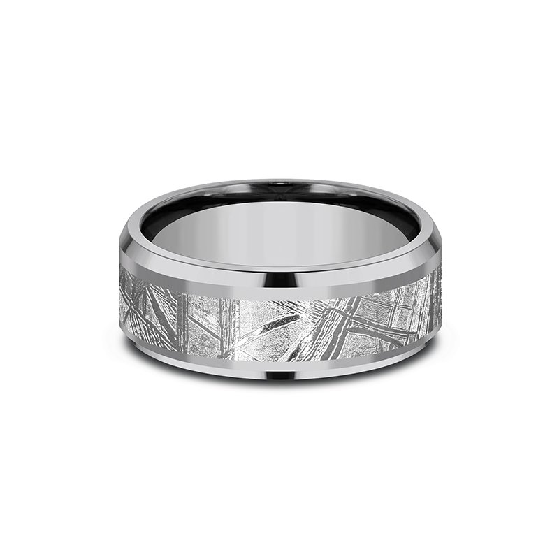 Tantalum and Meteorite Comfort-fit Design Wedding Band