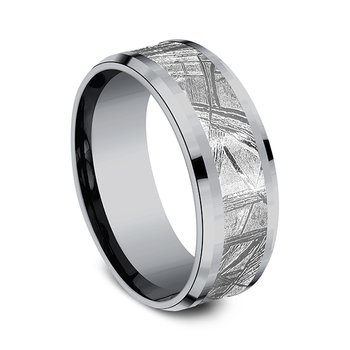 and Meteorite Comfort-fit Design Wedding Band
