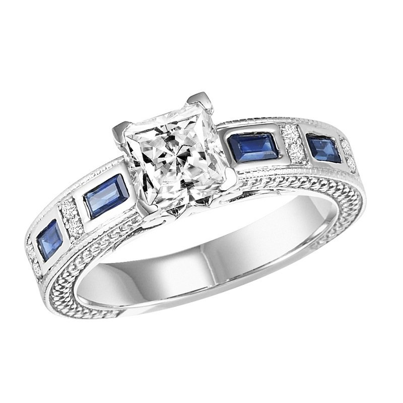 Bridal Bells 14K Sapphire & Diamond Ring With 1 ct Center Diamond