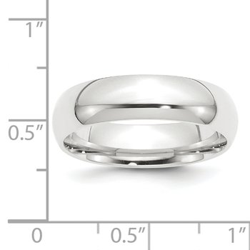 Platinum 6mm Half-Round Comfort Fit Lightweight Band