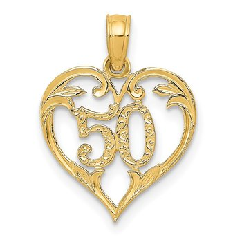 14k 50 in Heart Cut-out Pendant