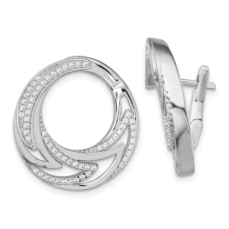 Quality Gold Sterling Silver Rhodium-plated CZ Hinged Hoop Earrings