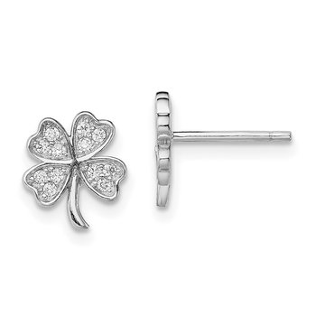 Sterling Silver Rhodium-plated CZ 4 Leaf Clover Post Earrings