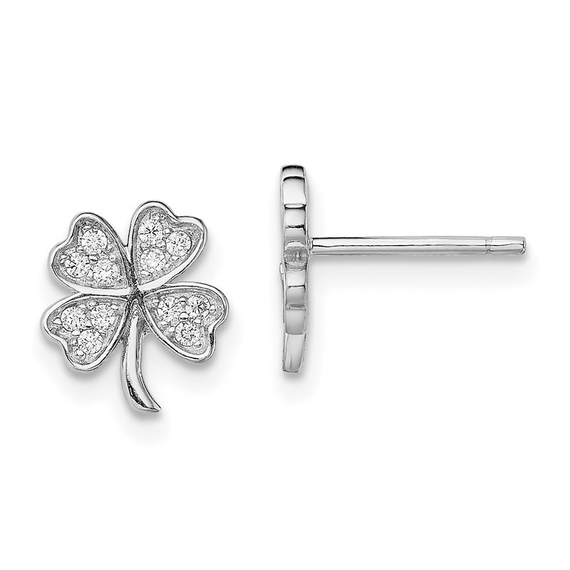 JC Sipe Essentials Sterling Silver Rhodium-plated CZ 4 Leaf Clover Post Earrings