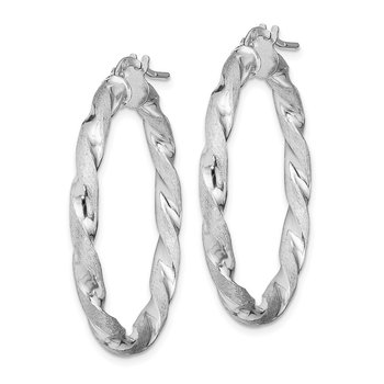 Sterling Silver RH-Plated Satin Polished Twisted 3x35mm Hoop Earrings