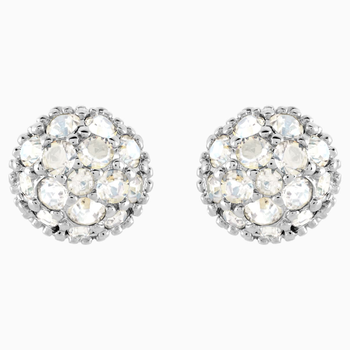 Euphoria Pierced Earrings, White, Rhodium plated