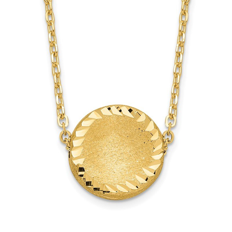 Quality Gold 14k Brushed Polished & D/C Circle Necklace