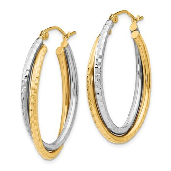 Leslie's 14K Two-tone Polished Oval Hinged Hoop Earrings