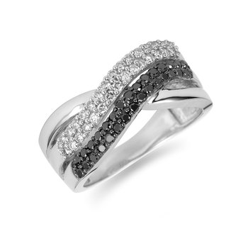 14K WG White and Black Diamond Fashion Ring