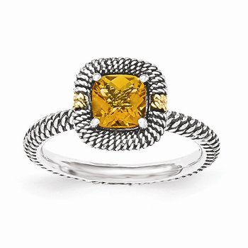 Sterling Silver w/14ky Citrine Cushion Ring