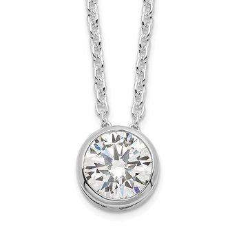 Sterling Silver Rhodium-plated 8mm Bezel CZ Necklace