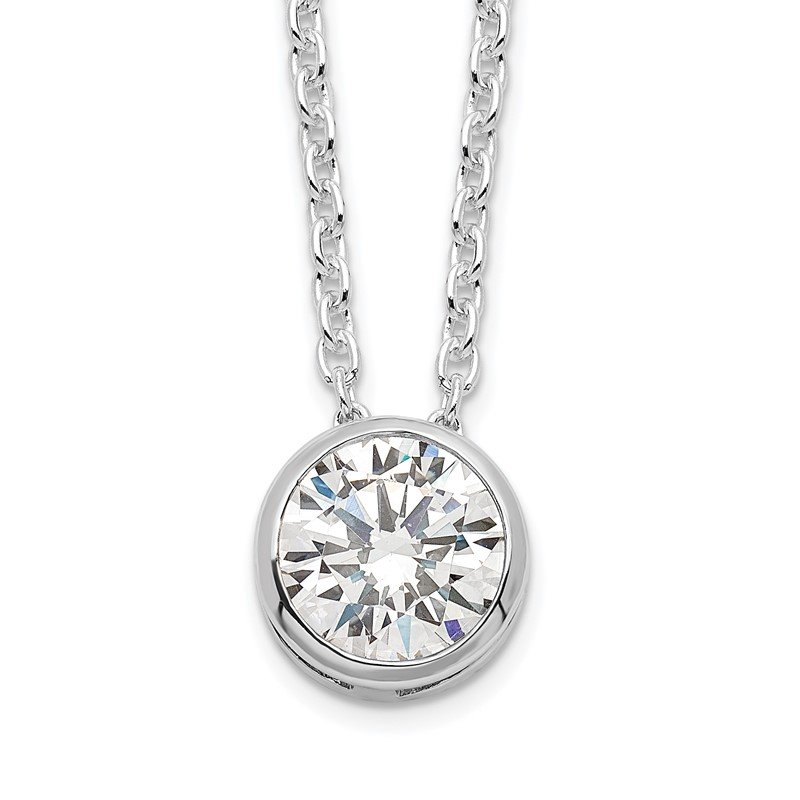 Quality Gold Sterling Silver Rhodium-plated 8mm Bezel CZ Necklace