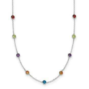 Sterling Silver 9-Station Multi-color CZ Necklace