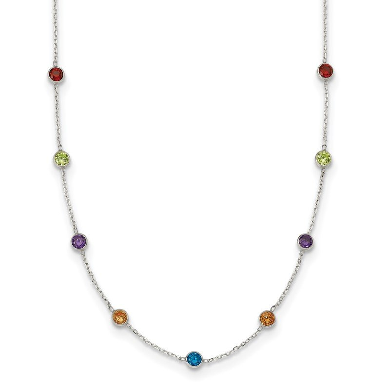 Quality Gold Sterling Silver 9-Station Multi-color CZ Necklace