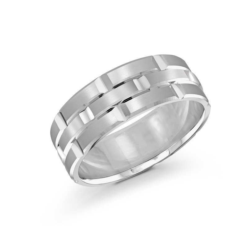 Mardini Trendy 8mm all white gold brick motif satin finish band with high polished grooved accents