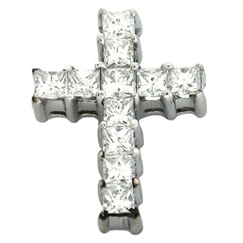 White Gold Cross Charm