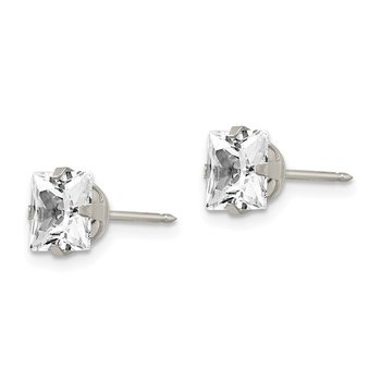 Inverness Stainless Steel 7mm Faceted Square CZ Earrings