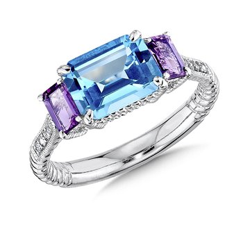 Sterling Silver, blue topaz and amethyst diamond ring