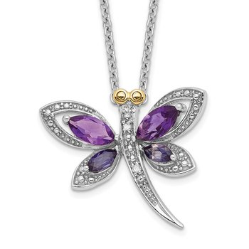SS and 14k Accent Amethyst/Iolite/Diamond Dragonfly 18inch Necklace