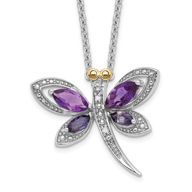 Quality Gold SS and 14k Accent Amethyst/Iolite/Diamond Dragonfly 18inch Necklace