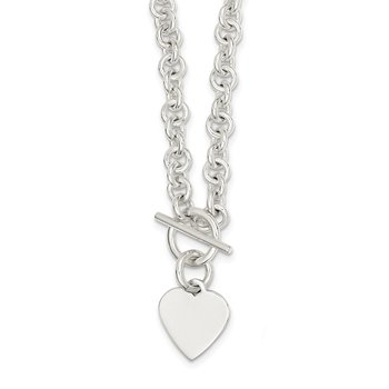 Sterling Silver Engraveable Heart Disc on Fancy Link Toggle 18in Necklace
