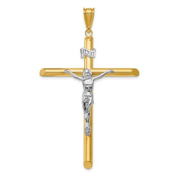 14k Two-Tone Polished Crucifix Pendant
