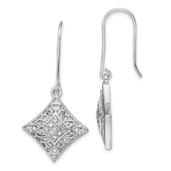 Sterling Silver CZ I Love You All Year Long Earrings