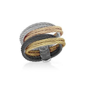 Black, Carnation, Grey and Yellow Cable Entwine Ring