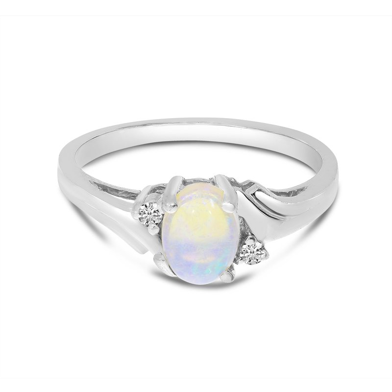 Color Merchants 10k White Gold Oval Opal And Diamond Ring