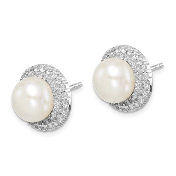 Sterling Silver Rhod-plat 8-9mm White Button FWC Pearl CZ Earrings