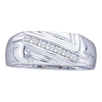 10kt White Gold Mens Round Diamond Diagonal Row Wedding Band Ring 1/8 Cttw