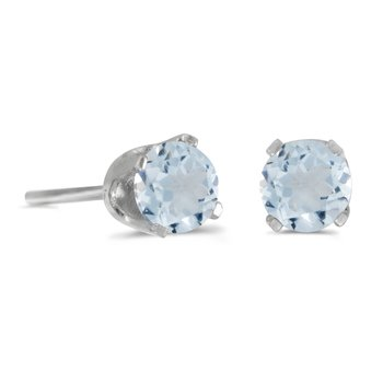 14k White Gold 4 mm Round Aquamarine Stud Earrings