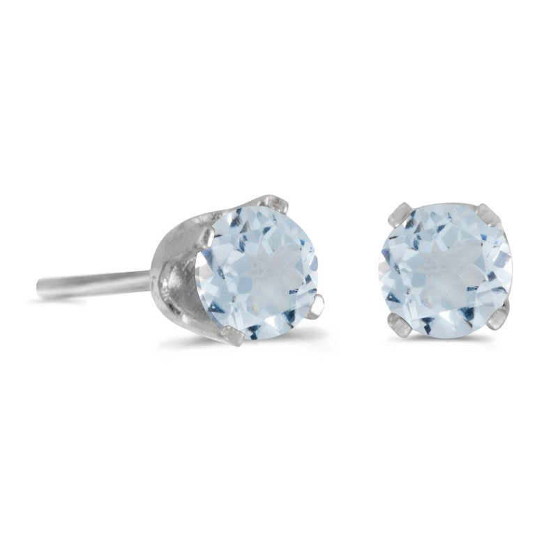 Color Merchants 14k White Gold 4 mm Round Aquamarine Stud Earrings