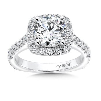 Classic Elegance Collection Halo Engagement Ring in 14K White Gold (2ct. tw.)