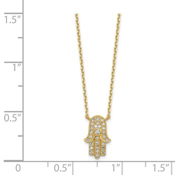 14K Hamas CZ with 2IN EXT Necklace