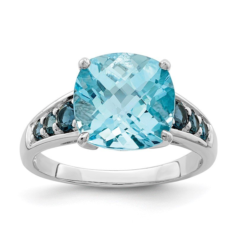Quality Gold Sterling Silver Rhodium-plated Sky Blue Cushion & London Blue Topaz Ring