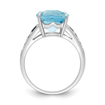 Sterling Silver Rhodium-plated Sky Blue Cushion & London Blue Topaz Ring