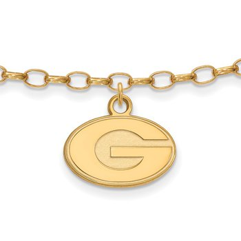 Gold-Plated Sterling Silver University of Georgia NCAA Bracelet