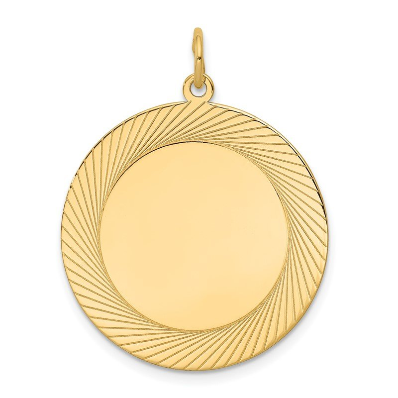 Quality Gold 14k Etched Design .018 Gauge Circular Engravable Disc Charm