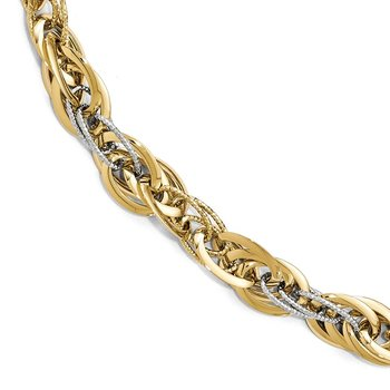 Leslie's 14k Two-tone Polished D/C Fancy Link Bracelet