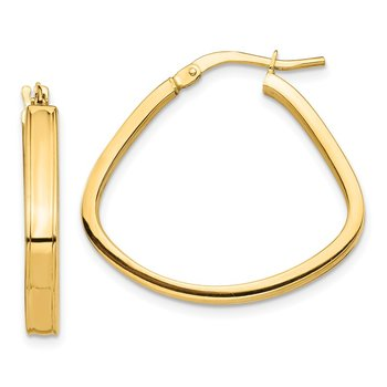 14k Polished 3mm Triangle Hoop Earrings