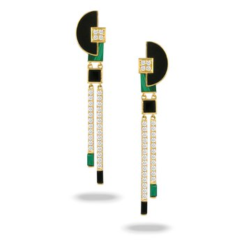 Verde Malachite & Diamond Dangles 18KY