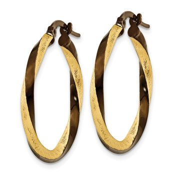14k & Brown Rhodium 2.25mm Twisted Hoop Earrings